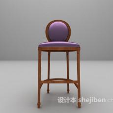 紫色法式吧椅3d模型下载