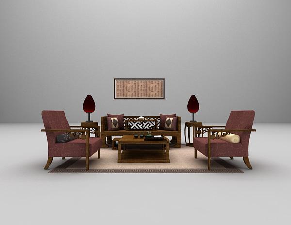 中式风格组合沙发3d模型下载