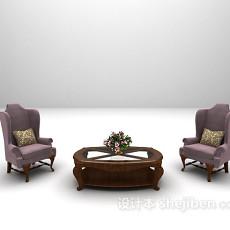 欧式高背椅沙发3d模型下载