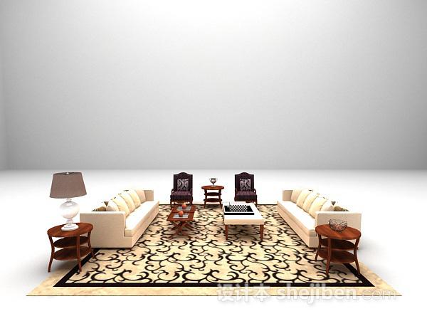 田园风组合沙发3d模型下载