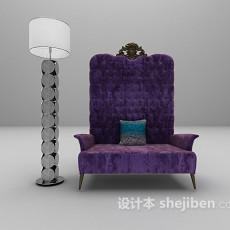 紫色高背沙发3d模型下载