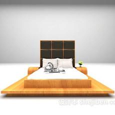 木制床3d模型下载