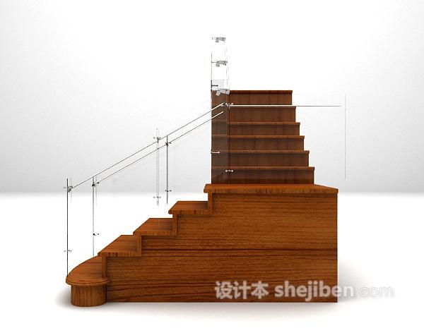 木质楼梯3d模型下载
