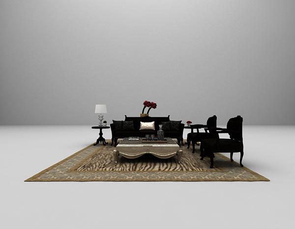 欧式沙发组合3d模型下载