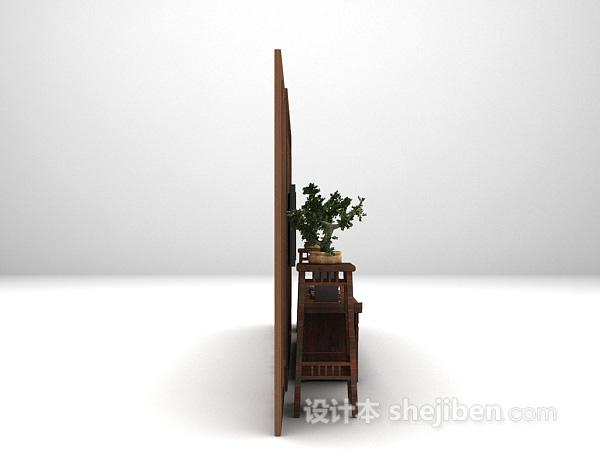 中式棕色电视柜3d模型下载