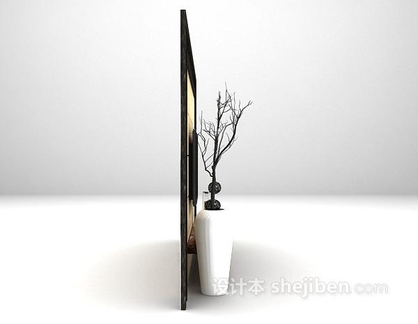 简欧电视墙3d模型下载