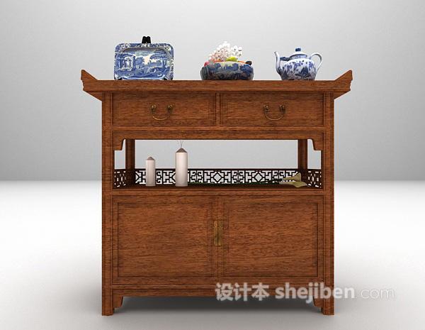 中式木质玄关厅柜3d模型免费下载