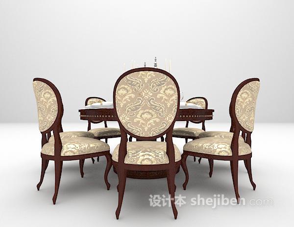 棕色圆形餐桌模型下载