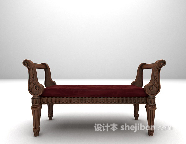 欧式古典床榻3d模型下载