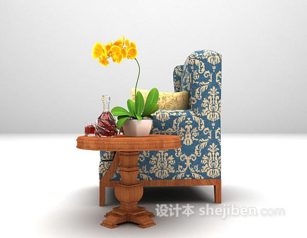 蓝色单椅沙发3d模型下载