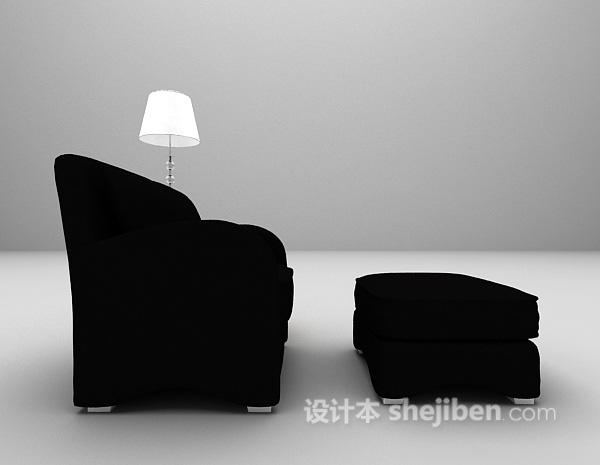 黑色沙发3d模型下载
