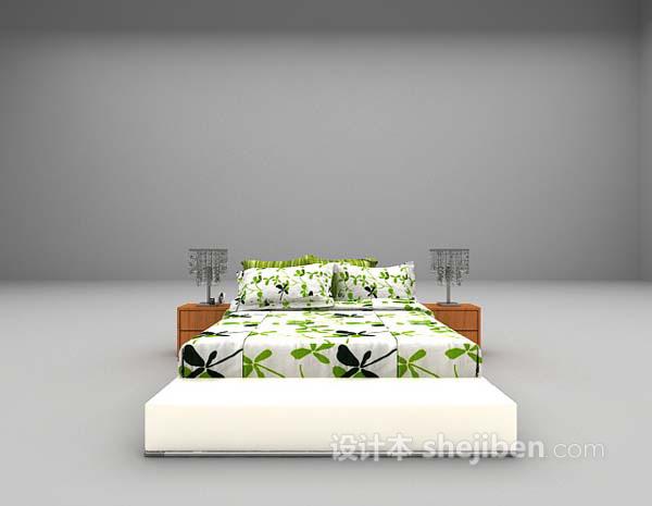 清新风格床3d模型下载
