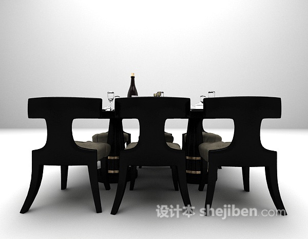 黑色欧式餐桌组合3d模型下载