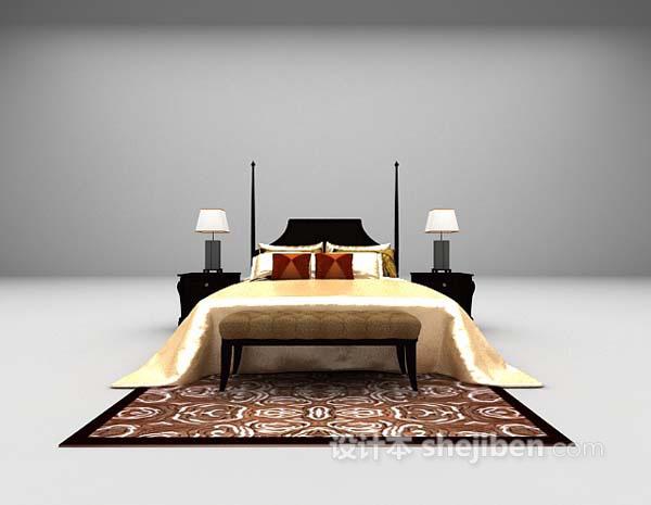 欧式黑色床3d模型下载