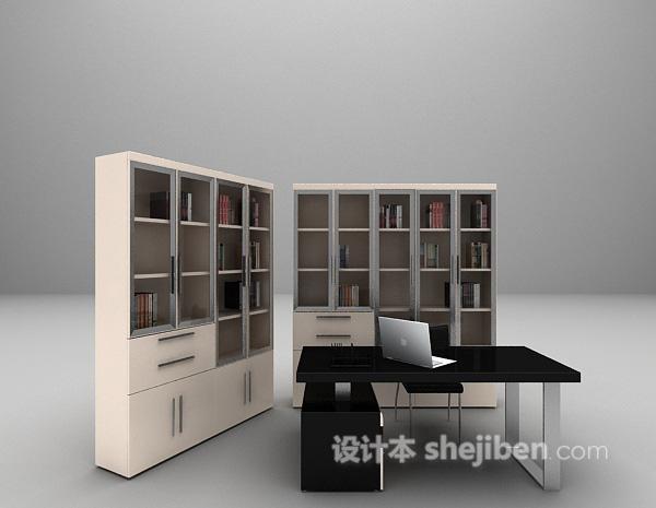 办公桌椅组合模型下载