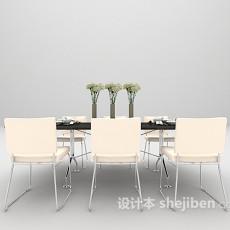 现代六人位餐桌3d模型下载