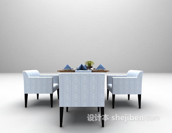 蓝色简易桌椅3d模型下载