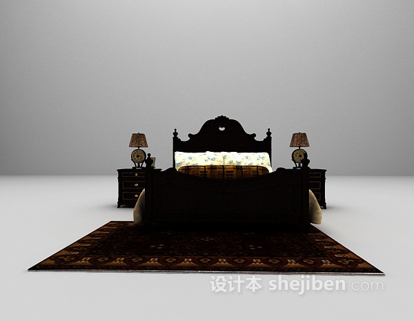 欧式豪华双人床3d模型下载