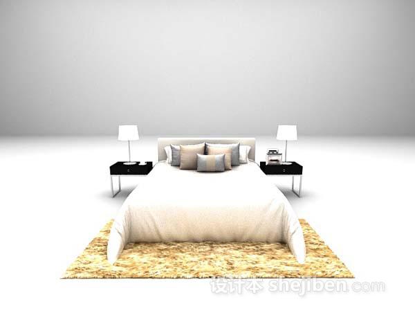 现代双人床组合3d模型下载