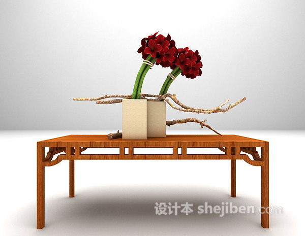 中式木质玄关边几3d模型下载