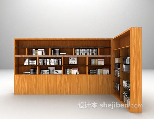 现代灰色书柜3d模型下载