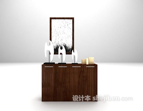 现代黑色玄关厅柜3d模型下载