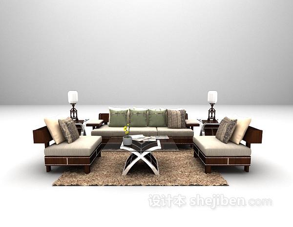 田园风格木质沙发3d模型下载