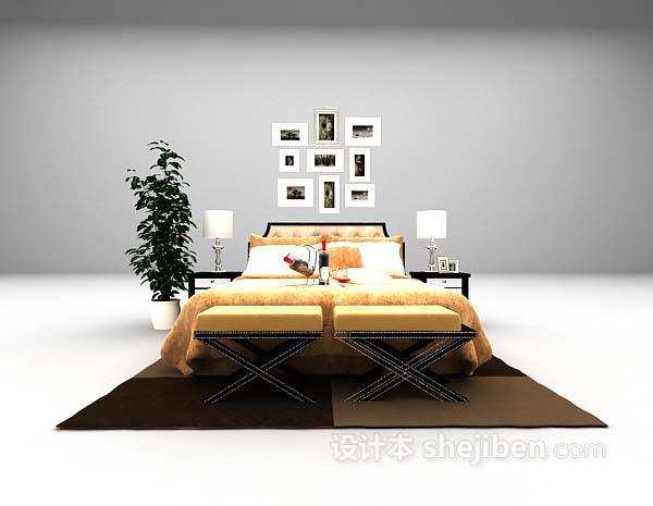 装饰主义风格床3d模型下载