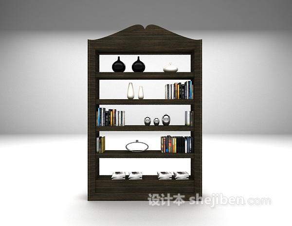 现代书架展示架3d模型下载