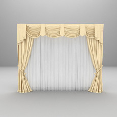 欧式风格窗帘3d模型下载