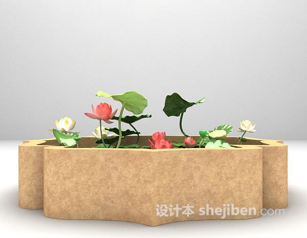 小型荷花池3d模型下载