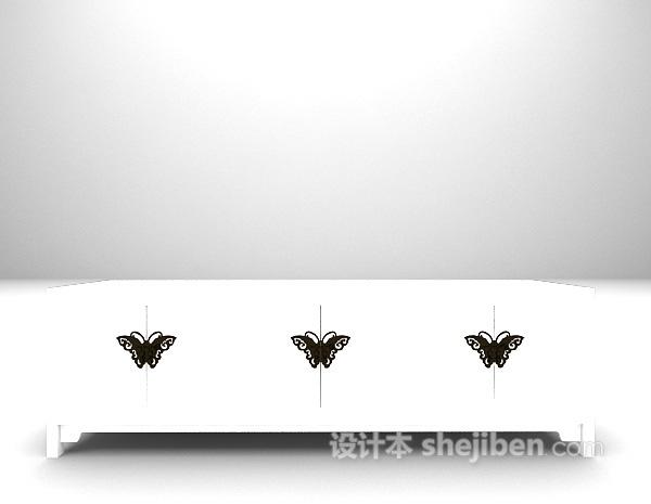 蝴蝶装饰电视柜3d模型下载