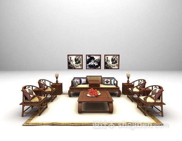 中式木质家庭沙发3d模型下载