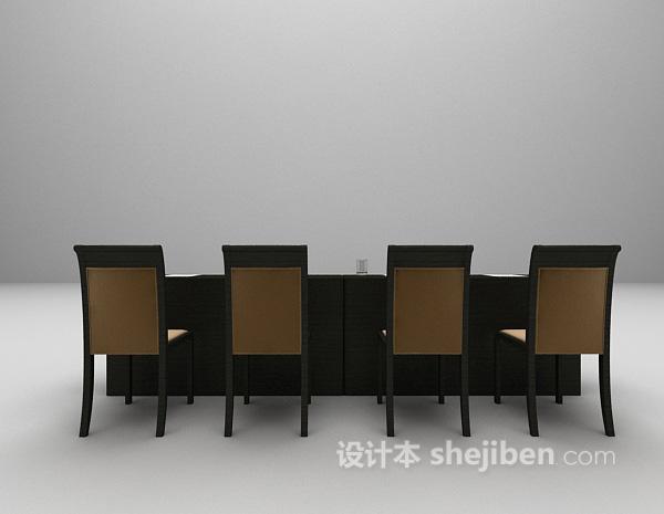 现代办公桌椅3d模型下载