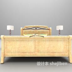 灰色木质床3d模型下载