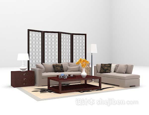 沙发屏风组合3d模型下载