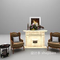 白色壁炉3d模型下载