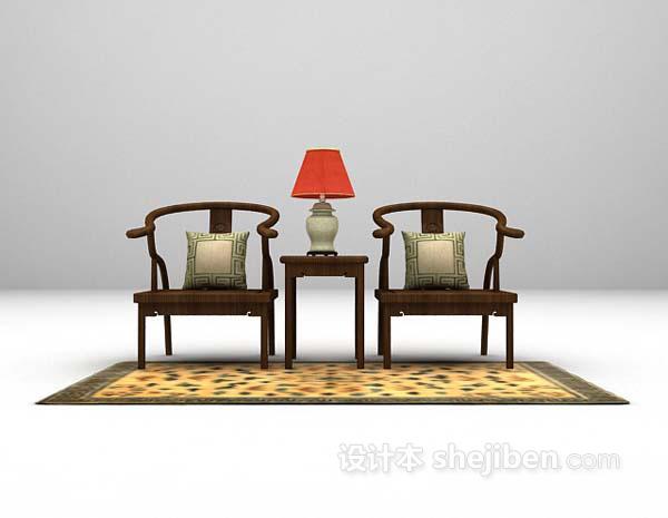 中式棕色桌椅组合3d模型免费下载
