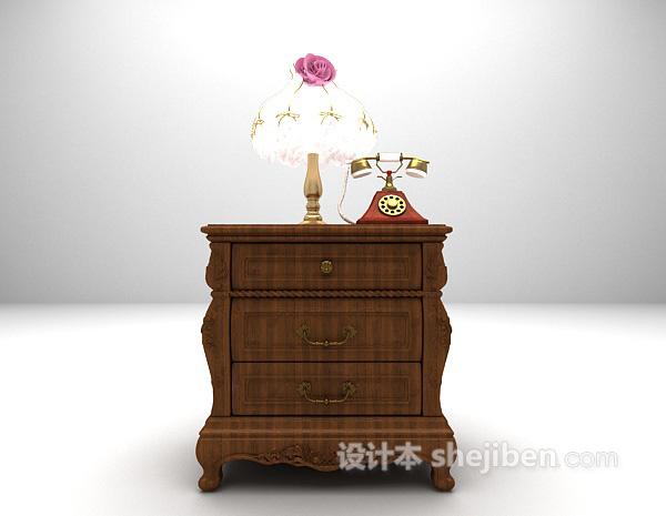 实木欧式床头柜模型下载