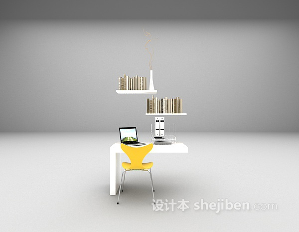 简洁现代书桌3d模型下载