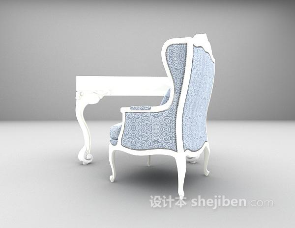 欧式白色书桌3d模型下载