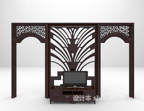 电视背景墙3d模型免费下载