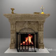 灰色壁炉3d模型下载