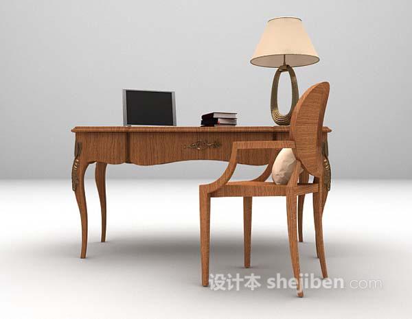 中式书桌3d模型下载