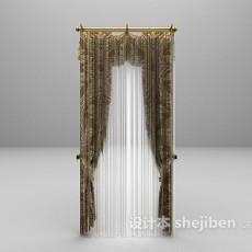 欧式华丽窗帘3d模型下载