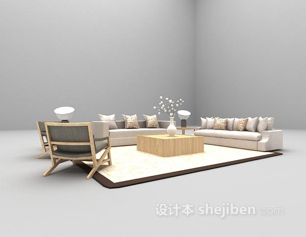 现代风格客厅沙发3d模型下载