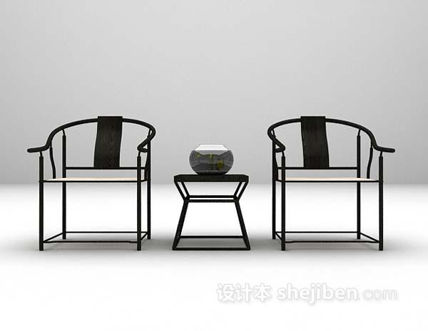 中式风格桌椅组合3d模型下载