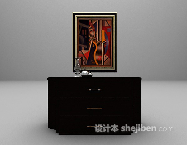 欧式黑色玄关厅柜3d模型下载