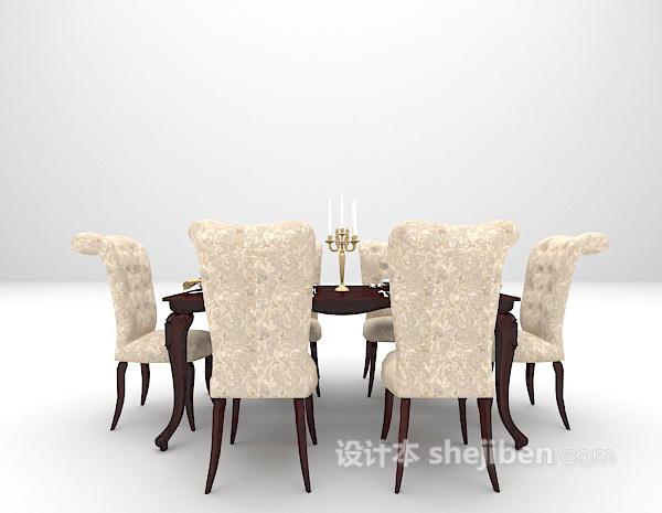 2015欧式西餐餐桌组合3d模型下载