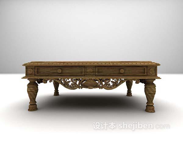 中式木色茶几3d模型下载